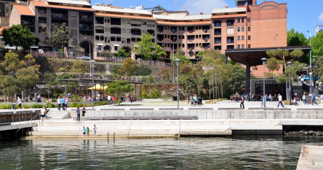 The fast shift away from single uses of waterfronts are still  grappling with how to best combine uses to maximize public benefits. Pirrama Park in Sydney Australia nicely combines food, children's play and access to the water.