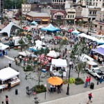 he Market in Pittsburgh's Market Square draws visitors from around the region to wander its colorful stalls each Thursday