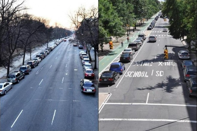 Prospect Park West  A street for cars, vs. a rightsized place for everyonePhoto Credit: NYC DOT