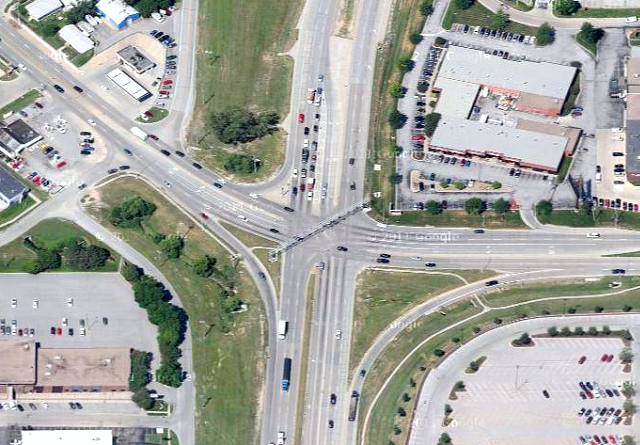 Industrial Rd & Millard Ave in Omaha, America's most dangerous intersection, makes no room for pedestrians / Photo: Google