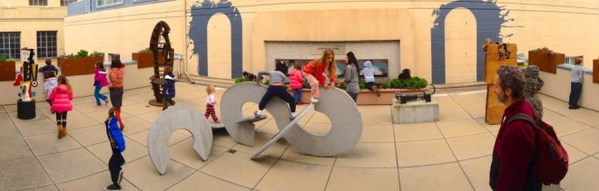 Children play on the Museum of Art and History's rooftop sculpture garden during a Placemaking workshop / Photo: Greg Larson