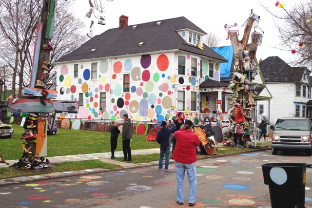 Placemakers explore Detroit's iconic Heidelberg Project on a tour of the city during the inaugural meeting of the PLC / Photo: PPS