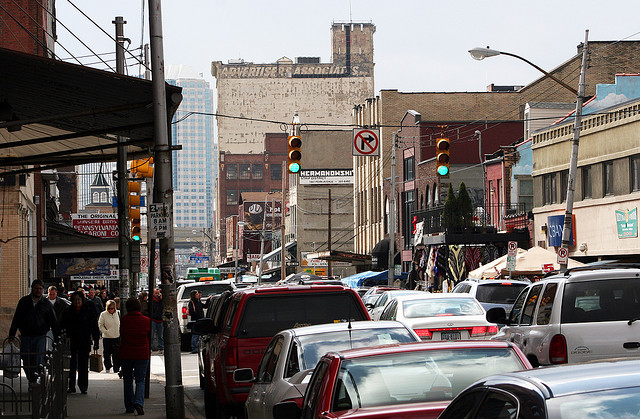 A wide variety of destinations, like the Strip District, one of the few remaining market districts in the US, are easy to reach on foot or bike from downtown / Photo: somenametoforget via Flickr