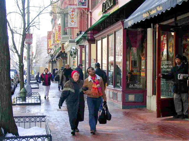 Pedestrians stroll in Washington DC's Chinatown district, near where the recent Walking Summit took place / Photo: PPS