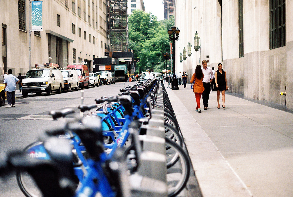 Bikeshare stations have become prominent elements of NYC's public realm over the past year / Photo: Aaron van Dorn via Flickr