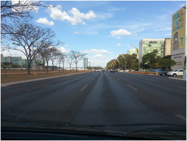 Eastbound lanes of Monumental Axis, which at 250 meters including the median, is described in the Guiness World Records as the widest avenue in the world.
