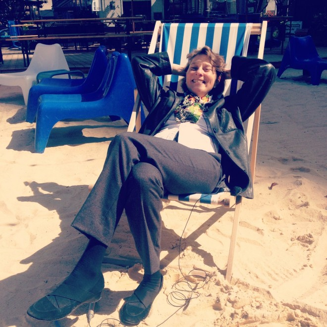 PPS Senior Vice President Cynthia Nikitin lounges at the Beach on a recent trip to Detroit | Photo on our Instagram @PPS_Placemaking