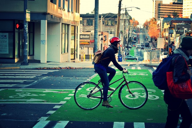 Broadway protected bikelane | Photo by SDOT, flickr