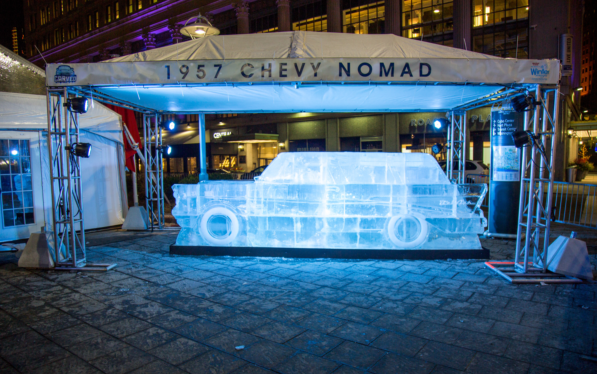 "Adding to the installation's interactive component, three of the sculptures invite people to hop inside for a ""test drive,"" while all seven have embedded lights that make for an ethereal nighttime experience 