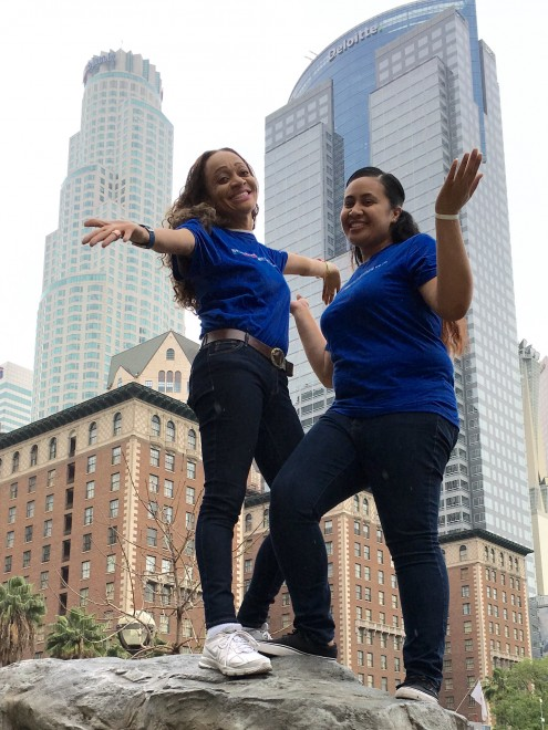 Southwest's Pauline Morris-Ewing and Pearl Mapu in LA's Pershing Square