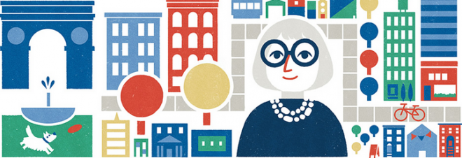 Jane Jacobs Google Doodle from May 4, 2016. Check out the backstory here backstory