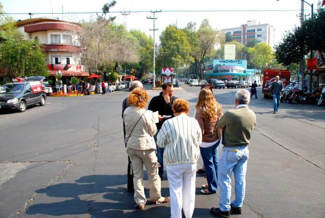 The Place Game can be used on any public site, in any city or country - here, placemakers are evaluating a street in Mexico.
