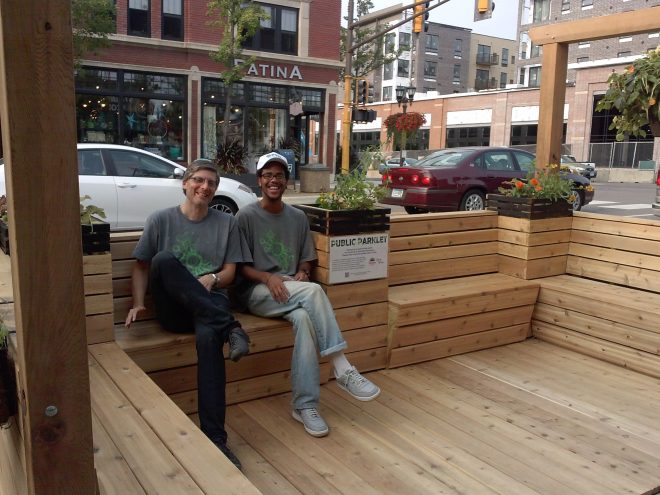 Lars Christiansen and Darius Gray in FSI parklet | Photo by author