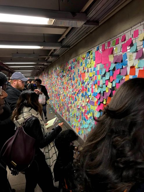 "Sticky notes at 14th Street/Union Square subway station, called ""Subway Therapy"" - an art installation offering a healing place for a range of voices 