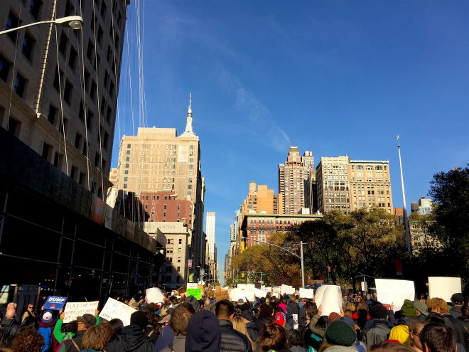 Thousands of protesters in New York marched through city streets towards Midtown Manhattan | Image by Juliet Kahne