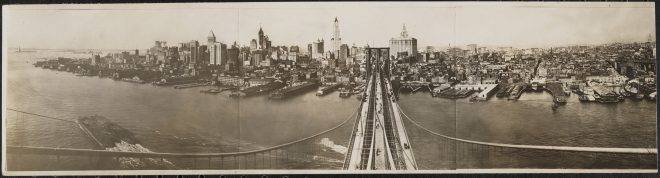 Panoramic view of New York, taken from the Brooklyn Bridge tower, ca. 1916 Gelatin silver print Museum of the City of New York, Photo Archives, X2010.11.13674